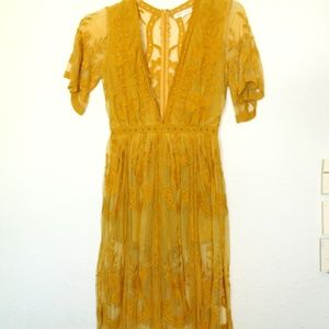 Honey Punch Mustard maxi romper